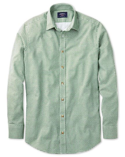 Slim fit green geometric print shirt