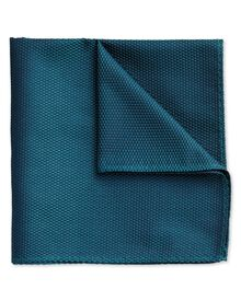 Peacock blue silk classic pocket square