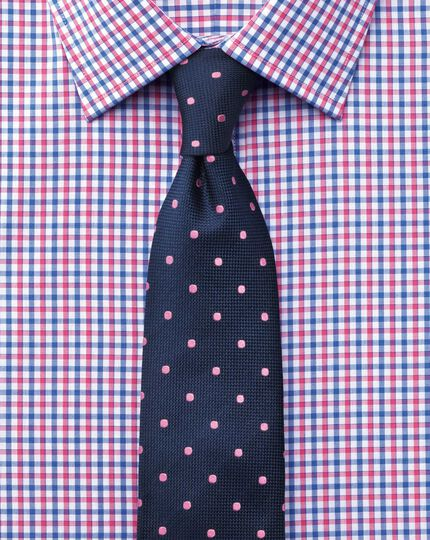 Slim fit Egyptian cotton Jermyn St check red and blue shirt