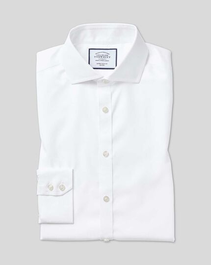 Slim fit cutaway collar non-iron twill white shirt