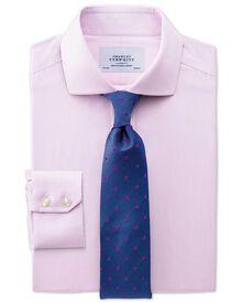 Extra slim fit cutaway collar non-iron mouline stripe pink shirt