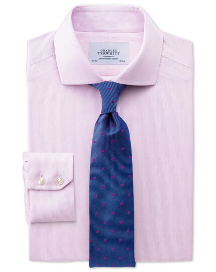 Extra slim fit cutaway collar non-iron mouline stripe pink shirt