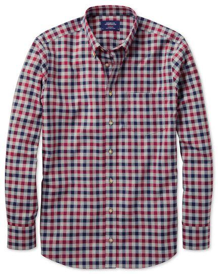 Bügelfreies Slim Fit Twill-Hemd in Rot und Marineblau mit Gingham-Karos