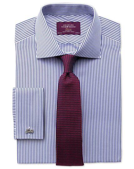 Slim fit semi-cutaway collar luxury poplin stripe blue shirt