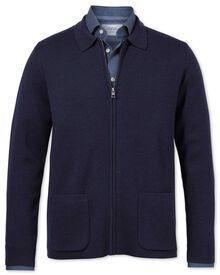 Navy merino wool zip jacket