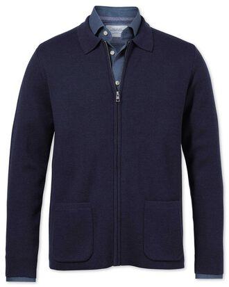 Veste bleu marine en laine mérinos avec zip
