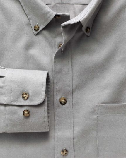 Slim fit non-iron twill button-down collar grey shirt