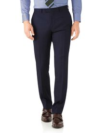 Navy herringbone classic fit Italian suit trousers