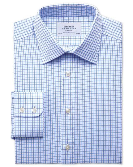 Classic fit twill grid check sky blue shirt