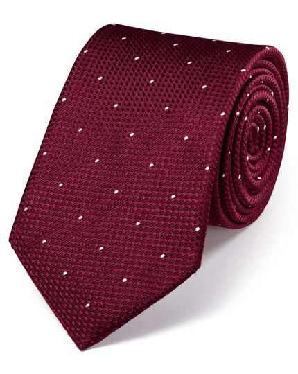 Burgundy silk classic textured dash tie