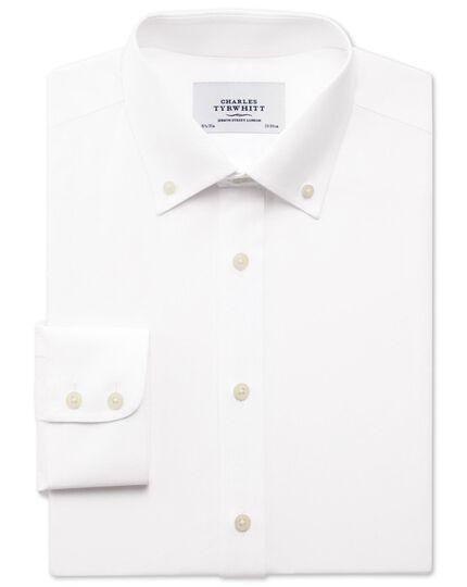 Slim fit non-iron pinpoint button-down white shirt