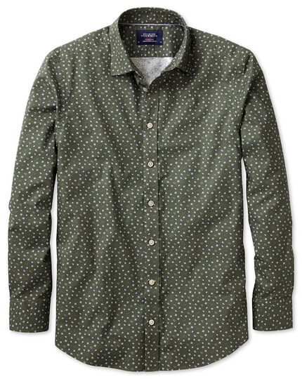Extra slim fit olive paisley print shirt