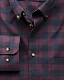 Classic fit non-iron twill wine and navy check shirt