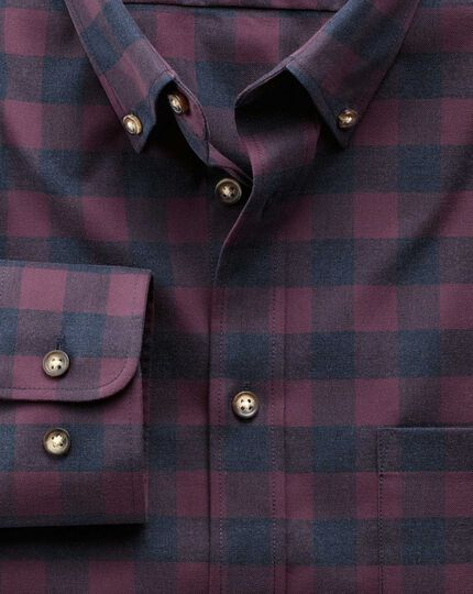 Slim fit non-iron twill wine and navy check shirt