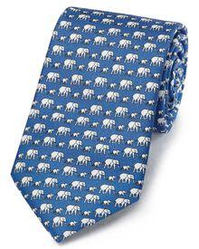 Blue classic elephant print tie