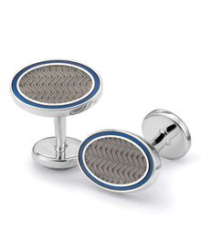 Grey wave oval enamel cuff links