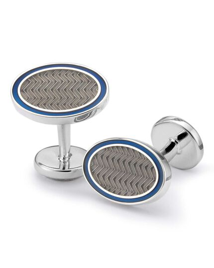 Grey wave oval enamel cufflinks