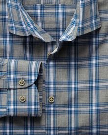 Extra slim fit grey and sky blue check heather shirt