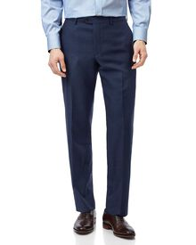 Blue classic fit twill business suit pants
