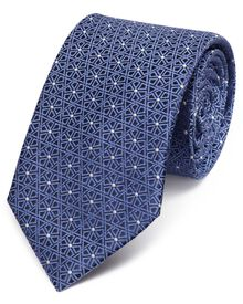 Blue silk classic geometric lattice tie