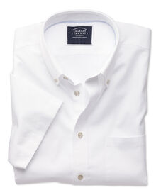 Slim fit white short sleeve washed Oxford shirt