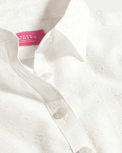Women's semi-fitted floral white essential shirt