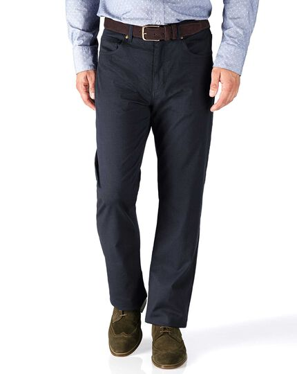 Navy classic fit 5 pocket textured dobby trousers