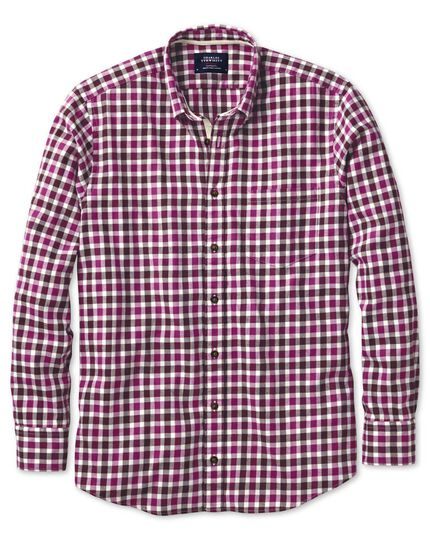 Extra slim fit berry check brushed dobby shirt