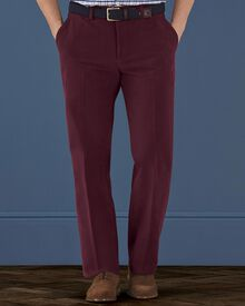 Wine classic fit moleskin trousers