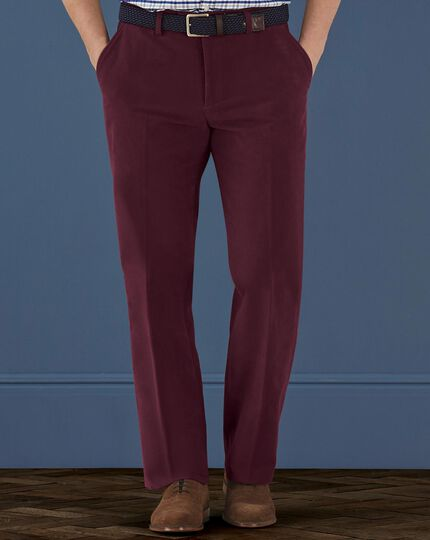 Wine classic fit moleskin pants