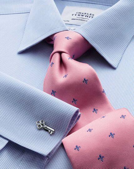 Pink and royal blue silk classic Fleur-de-Lys tie