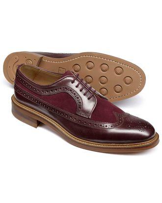 Burgundy Lanescot brogue wing tip Derby shoe