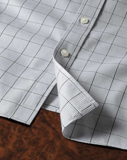 Extra slim fit non-iron Prince of Wales check grey and black shirt