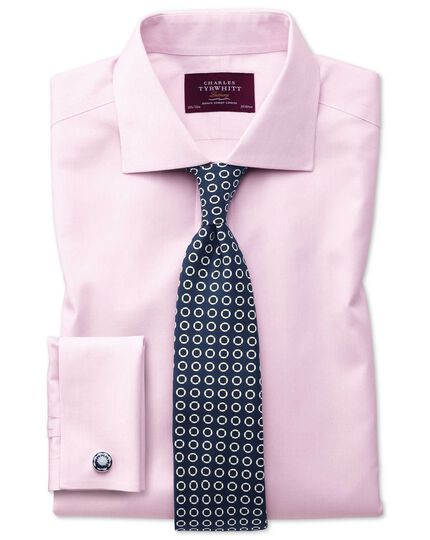 Extra slim fit non-iron semi-cutaway collar luxury stripe pink shirt