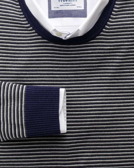 Grey and charcoal stripe merino wool crew neck jumper