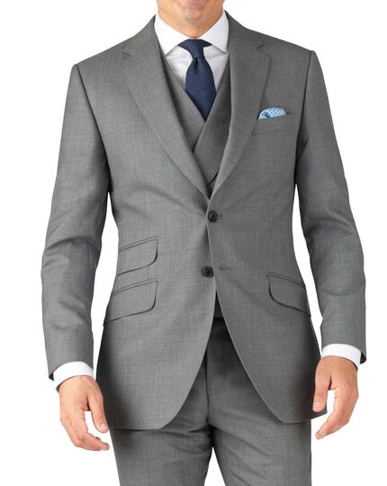Silver slim fit British Panama luxury suit jacket