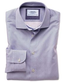 Classic fit semi-cutaway business casual motif print red and blue shirt