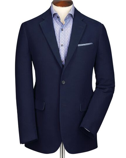 Navy classic fit moleskin unstructured jacket