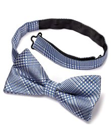 Sky silk classic Prince of Wales check ready-tied bow tie