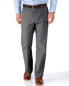Grey classic fit Prince of Wales check stretch trousers