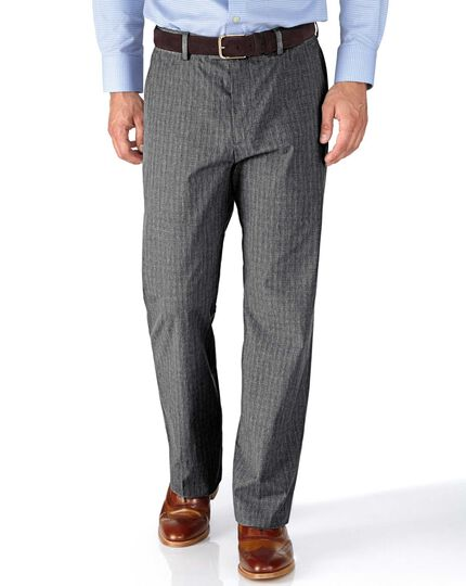 Grey classic fit Prince of Wales check stretch pants