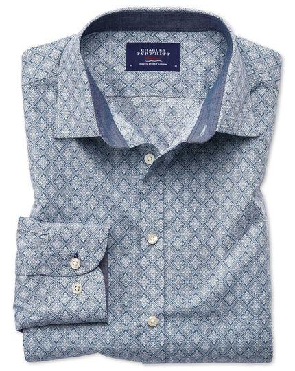 Slim Fit Hemd mit Rauten-Print in Hellgrau