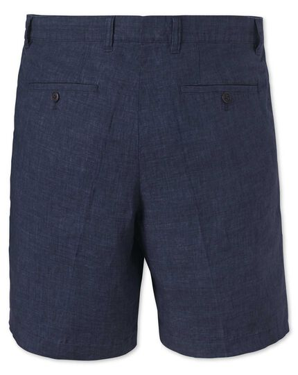 Indigo flat front cotton linen shorts
