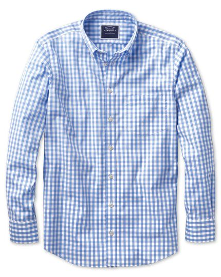Classic fit non-iron poplin sky blue check shirt