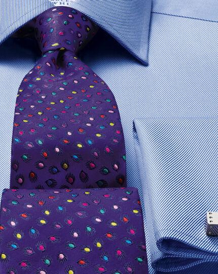 Purple silk luxury multi spot floral tie