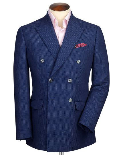 Slim fit royal blue double breasted birdseye wool jacket