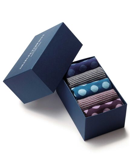 Multi spot and stripe sock gift box