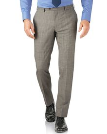 Grey Prince of Wales check slim fit Panama business suit pants