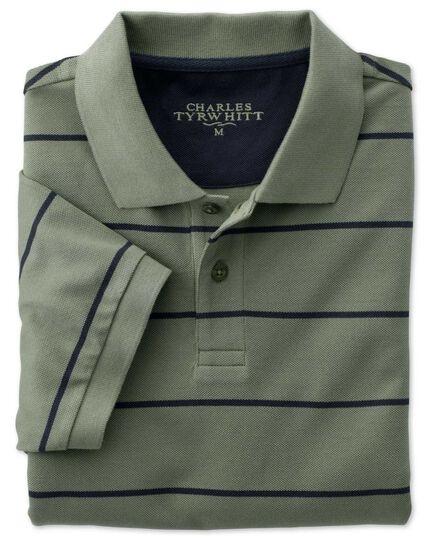 Green and navy stripe pique polo