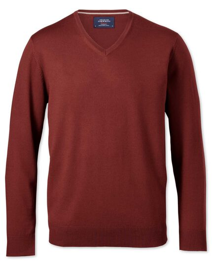 Copper merino v-neck sweater